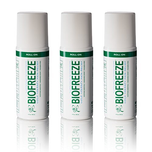 Biofreeze Pain Relief Gel for Arthritis, 3 oz. Roll-On Cold Topical Analgesic, Fast Acting Cooling Pain Reliever for Muscle, Joint, and Back Pain, Original Green Formula, Pack of 3, 4% Menthol