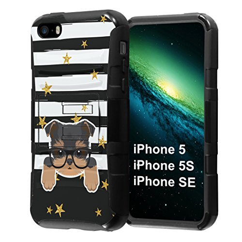 iPhone SE Case, Capsule-Case Hybrid Dual Layer Combat Full Armor Style Kickstand Case with Holster Combo (Black) for iPhone SE/iPhone 5s / iPhone 5 - (Yorkshire Terrier)