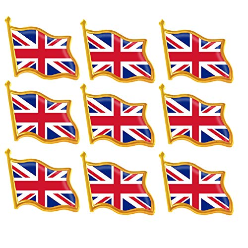 Rhungift 10 Pack United Kingdom UK (Union Jack) British Flag Bulk Pins  Jewelry Quality Gold Enamel UK National Lapel Pins