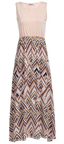 POGTMM Women's Summer Boho Chevron Striped Sleeveless Casual Tank Swing Long Maxi Dress with Pockets (L, Z# Beige) (Dress Skirts Sleeveless Knit)