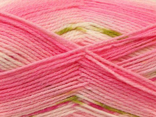 ((1) 100 gram Baby Design Yarn - Pinks, White Green Self-Striping, Patterning - Acrylic, 393 yards)