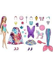 Barbie Dreamtopia Adventskalender: Blonde Barbiepop, 3 sprookjesachtige popmode, 10 accessoires en 10 verhalen vertellen stukken, inclusief 4 huisdieren