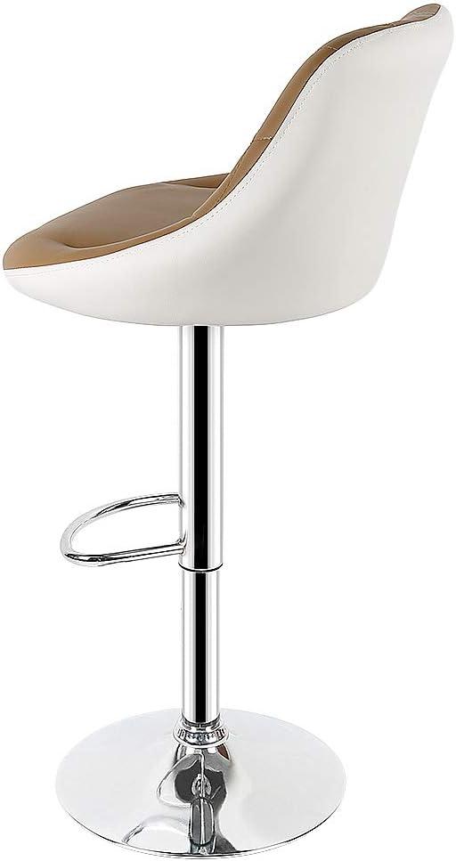 Flyelf 2er Set Barhocker mit Lehne,Kunstleder Tresenhocker 360° Drehbar,Höhenverstellbar 59cm-79cm (2-Weiß+Schwarz) 4-kamel+weiß