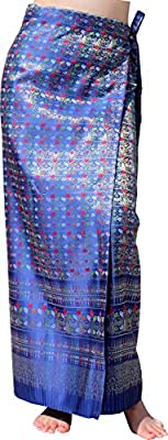RaanPahMuang Brand Full Star Line Motif Thailand Silk Wrap Skirt Thai Formal Sarong