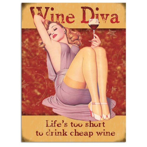 Wine Diva Vintage Pin Up Girl Metal Sign