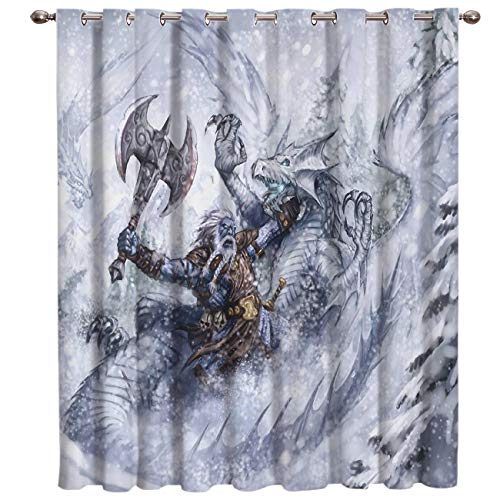 SODIKA Window Curtains for Bedroom Living Room Dining Grommet Top Window Treatment/Drapes,Dragon 52