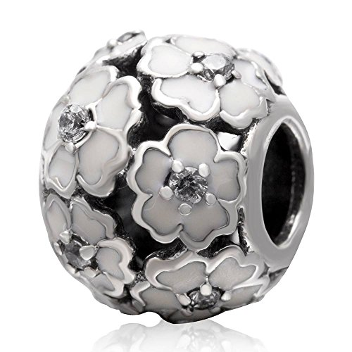 - The Cherry Blossom Charm 925 Sterling Silver Flower Beads fit for DIY Charms Bracelets (white)