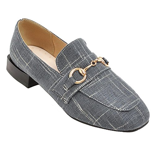 Womens Grey Shoes Square Toe Vintage Charm Loafers Low Foot Heel w4zqx5OSg5