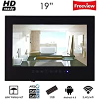 Soulaca Soulaca 19 Smart Android Black ip66 Waterproof Bathroom LED TV with WiFi for Hotel Sauna Room Kitchen TV T190FABYAA (Black)