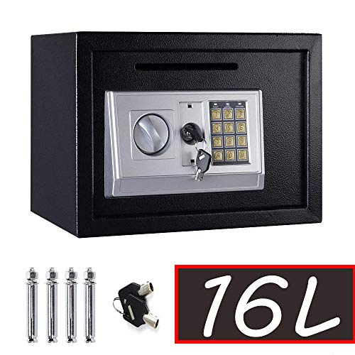 Safe Box with Key, Large 16 L Home Safes Solid Steel Wall Mounted Electronic Digital Safety Security Box Cabinet Safe…