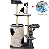 okdeals Cat Tree Condo Multi-level Cat Tower Cat Condo Barrel Double Hole with Soft Basket, Scratch Proof & Dirt-resistant Kitten Furniture Play House(Grey) Upgrade