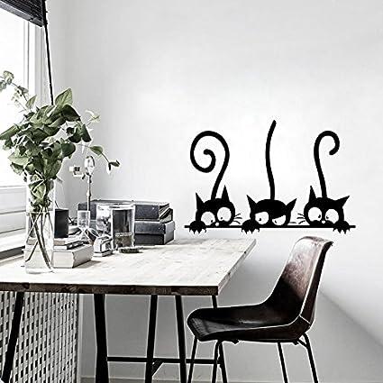 iTemer Pegatinas pared decorativas Vinilos decorativos pared dormitorio Stickers Decoracion pared Elegante y hermoso Gato de dibujos animados Negro 20 * 30 ...
