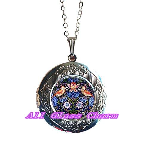 lace,Beautiful Locket Necklace,Locket Necklace Locket Pendant - The Strawberry Thief - Arts and Crafts Movement Jewelry - Art Nouveau Locket Pendant - Bird Locket Necklace - Botan (Nouveau Locket)