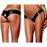 Womens Lingerie and Exotic String,Sexy Fetish Rubber Latex artificial leather Panties Briefs Underwear,Shining Metallic G-String Thong Low Waist (black)