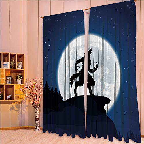 ZHICASSIESOPHIER Modern Style Room Darkening Blackout Window Treatment Curtain Valance for Kitchen/Living Room/Bedroom/Laundry,Werewolf Mythical Creature in Woods Halloween 84Wx95L Inch