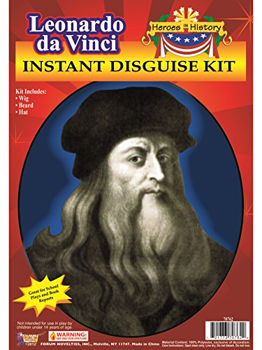 Forum Novelties Men's Leonardo Da Vinci Disguise Kit Adult Costume Hat, Multi Colored, One Size