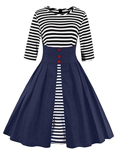 VKStar® Retro Herbst Abendkleid/Cocktailkleid mit Streifen Vintage 50er Rockabilly Swing Audrey Hepburn Kleid mit 1/2 Ärmel (5XL, Blau)
