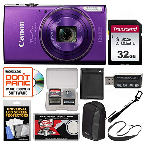 - Canon PowerShot Elph 360 HS Wi-Fi Digital Camera (Purple) with 32GB Card + Case + Battery + Selfie Stick + Sling Strap + Kit