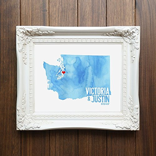 Custom Washington or ANY State or Country Wedding Art Print Decor - gift for couple or anniversary - watercolor wedding - Online Custom Frames Canada