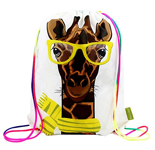 Giraffe Drawstring Gym Bag for Kids Boys Girls Teens, Cinch Gift Backpack for School and Party