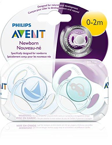 Philips AVENT Newborn pacifier 2 Piece, Blue/Green, 0-2 Months