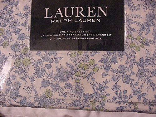 (Ralph Lauren 4 Piece King Sheet Set Wild Blossoms Blue Green floral French Cottage Country Style Wildflowers)