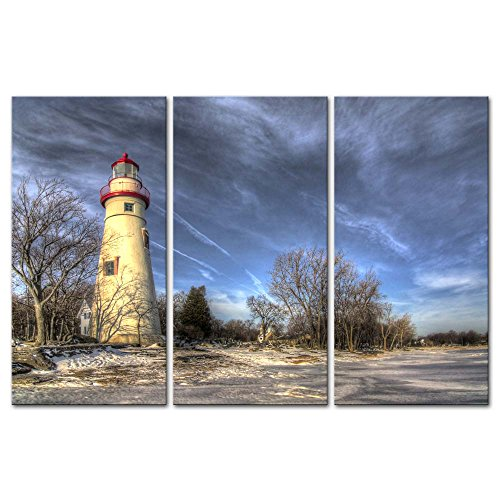 Wall Art Decor Poster Painting On Canvas Print Pictures 3 Pieces Modern Canvas Painting Wall Art Picture For Home Decoration Historic Marblehead Lighthouse Ohio Along Shores Lake Erie Winter Snow ()