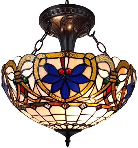 Amora Lighting AM076HL16 Tiffany Style Victorian Design 2-Light Pendant Lamp, Multi-color