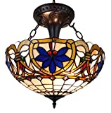 Amora Lighting AM076HL16 Tiffany Style Victorian Design 2-Light Pendant Lamp - Multi-color