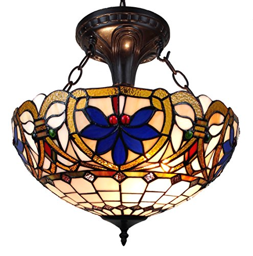 - Amora Lighting AM076HL16 Tiffany Style Victorian Design 2-Light Pendant Lamp, Multi-color