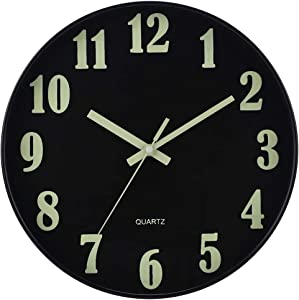 JoFomp Night Light Wall Clock, 12 Inch Silent Non-Ticking Wall Clocks, Large Luminous Function Numbers and Hands, Battery Operated Decorative Wall Clock for Office, Kitchen, Living Room (All Black)