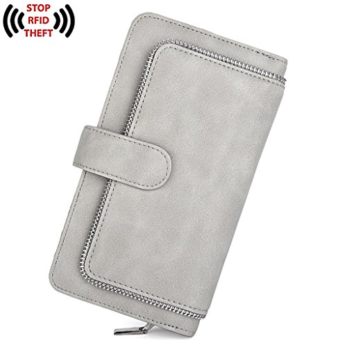 UTO Women PU Leather Wallet RFID Blocking Large Capacity 15 Card Slots Smartphone Holder Snap Closure D Grey by UTO (Image #7)