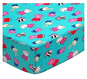Amazon.com : SheetWorld Crib Sheet Set - Peppa Pig Aqua ...