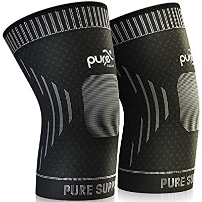 Knee Brace Compression Knee Sleeve - Knee Support Patella Stabilizer for Meniscus Tear - Arthritis Pain - Best for Running - Crossfit - Sports - Ideal for Women - Men - Kids - Pair Wrap
