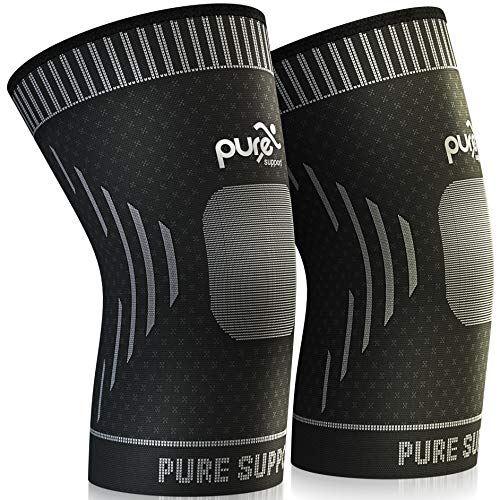 Knee Brace Compression Knee Sleeve – Knee Support Patella Stabilizer for Meniscus Tear – Arthritis Pain – Best for Running – Crossfit – Sports – Ideal for Women – Men Kids Pair Wrap (Black, Medium)