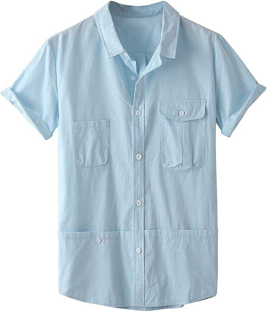 SoonerQuicker Camisa de Hombre Blusa Superior de Manga Corta de Color Puro con Bolsillo de Solapa de Moda para Hombre de Verano