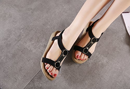CFP 699-2 Womens Cool Summer Open Toe Flexible Retro Charactered Vogue Leisure Sandals Comfy Snug Walking Slip On Pliable Flats Charming Leisure Breathable Beach Elegancy Shoes Black rELmBp5g