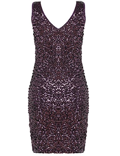 Neck Stretchy Bodycon Briller Deep Femmes Robe V PrettyGuide Violet Club Paillette wtS7WP