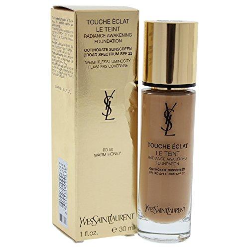 - Yves Saint Laurent Le Teint Touche Eclat Radiance SPF 22 Awakening Foundation for Women, Warm Honey, 1 Ounce