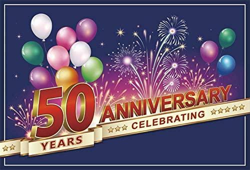 Cassisy 2,2x1,5m Vinilo Cumpleaños Telon de Fondo Aniversario DE 50 AÑOS Banner CELEBRANDO Fuegos Artificiales Fondos para Fotografia Party bebé ...