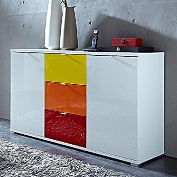 Sideboard RAINYBOW131 Hochglanz weiß, rot, gelb, orange: Amazon.de ...