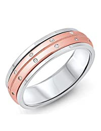 Rose Gold-Tone Clear CZ Spinner Wedding Ring 925 Sterling Silver Band Sizes 5-12