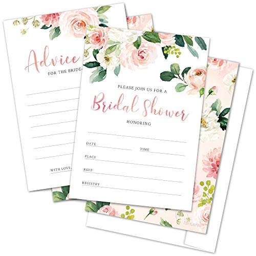 Set of 25 Floral Bridal Shower Invitations with Envelopes and Advice for The Bride to Be Cards - Fill-in Style Invites and Bridal Shower Game Cards (25 Pack)