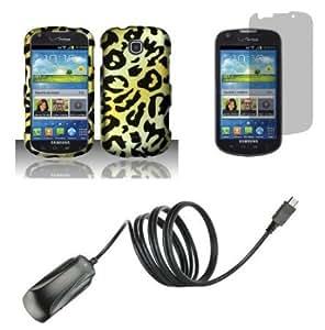 Cerhinu Samsung Galaxy Stellar I200 (Verizon) Combo - Cheetah Design Shield Case + Atom LED Keychain Light + Screen Protector...