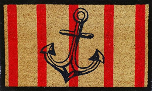 A1 Home Collections A1HOME200063 Doormat Anchor Red and Black Coir Door Mat