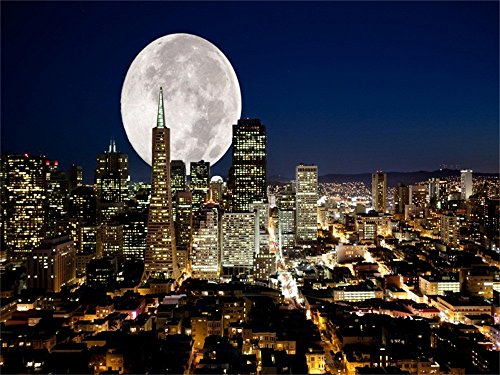 Laeacco Vinyl 7x5ft Photography Background Fantasy Full Moon Night City Night View Lighting Busy Backdrop Skyscraper Modern City Photographic Backgrounds Photo Video Shooting Props]()