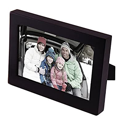 "Adeco 4x6"" Decorative Black Wood Picture Photo Frame for Wall Hanging or Table Top, One Opening"