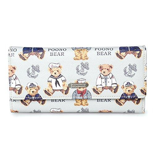 fency-womens-deluxe-bear-wallets-long-tri-fold-crossgrain-synthetic-leather-purse-handbag-poono-seri