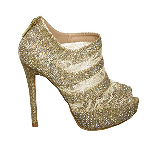 Lace High Heel Shootie with Crystals + Zipper on the Back (9, goldD) [Apparel]