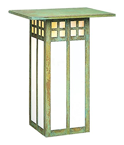 """Arroyo Craftsman GW-9LGWC-S Glasgow Long Body Flush Wall Mount, 9"""", Slate Metal Finish, Gold White Iridescent and White Opalescent Combination Glass"""